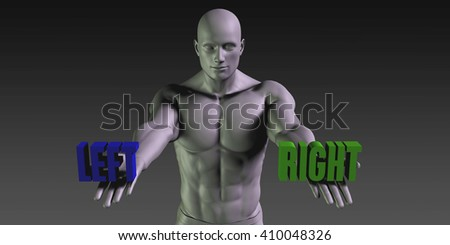 Left vs Right Concept of Choosing Between the Two Choices 3D Illustration Render - stock photo