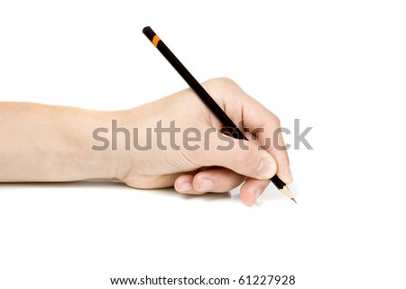 left write hand on white - stock photo