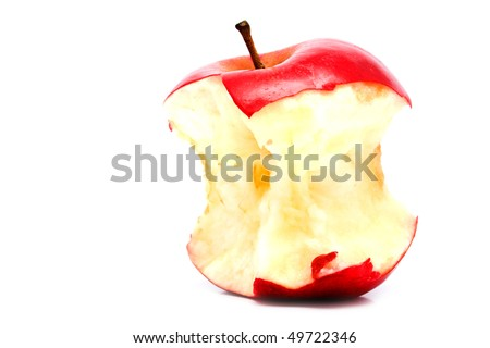 leftover bit of apple on a white background for your illustrations - stock photo