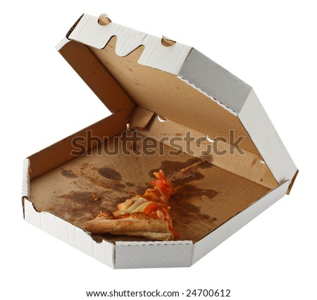leftovers of pizza in a takeaway box isolated on white background - stock photo