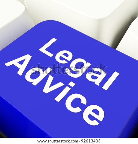 Legal Advice Computer Key In Blue Showing Lawyer Guidance - stock photo