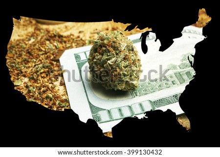 Legal American Marijuana, Cannabis in the United States of America - stock photo