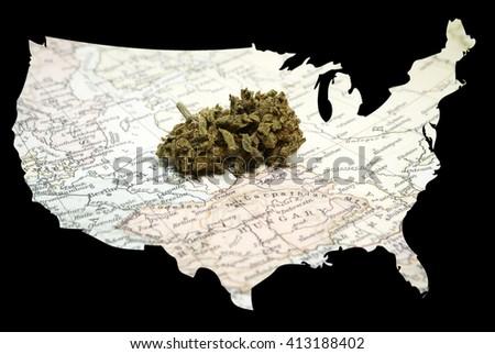 Legal Marijuana in America, Cannabis Bud in the United State of America  - stock photo