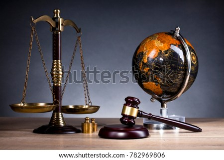 Legal office. Judges mallet, law and justice concept.