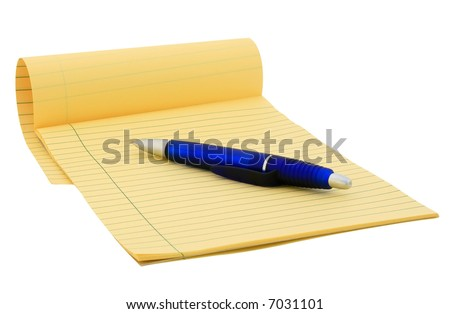 Legal pad and blue pen on pure white background - stock photo
