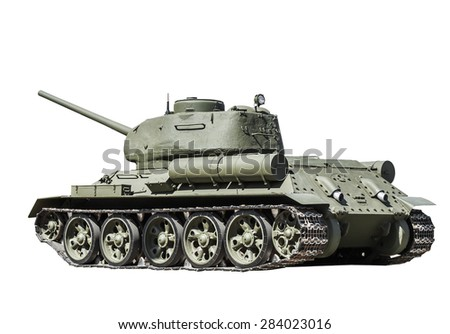 Legendary Soviet tank at war in the second world war isolated on white background. Russian military - stock photo