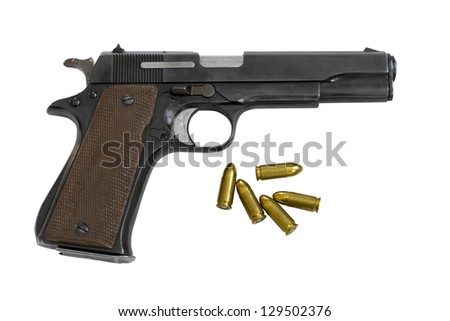 Legendary U.S. Army handgun Colt with bullets isolated on white background. Military model. Clipping path - stock photo