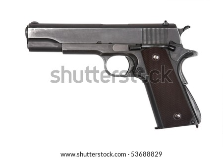 Legendary U.S. Army pistol isolated on white background. Military model (gray color). - stock photo