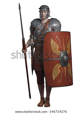 Legionary soldier of the Roman Empire wearing lorica segmentata armour, 3d digitally rendered illustration - stock photo