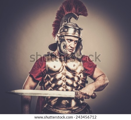 Legionary soldier ready for a war - stock photo