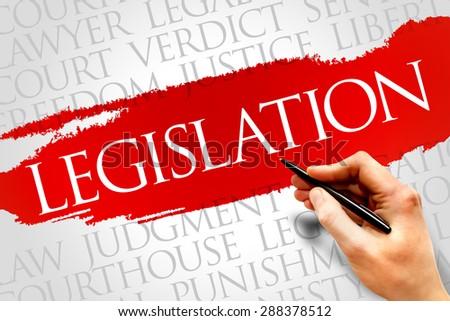 Legislation word cloud concept - stock photo