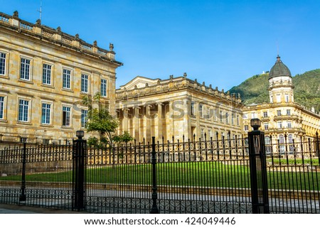 Legislature and other government buildings in the historic center of Bogota, Colombia - stock photo