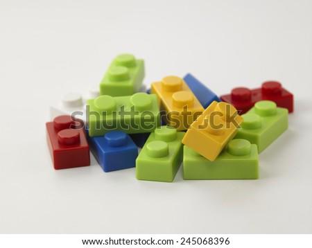lego pieces on the white background - stock photo