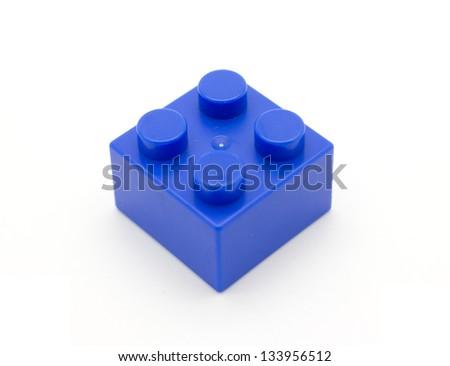 Lego Plastic building blocks isolated on white background - stock photo