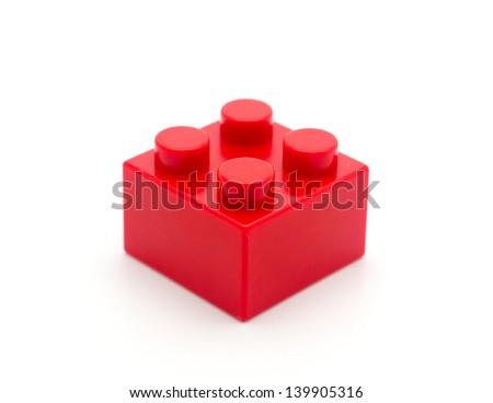 Lego Plastic building blocks on white background - stock photo