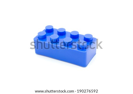 Lego Plastic building blocks on white background - stock photo