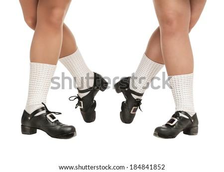 Legs in hard shoes for irish dancing - stock photo