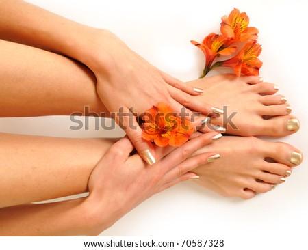Legs isolated on white - stock photo