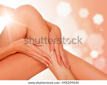 legs of a woman against an abstract background with copyspace