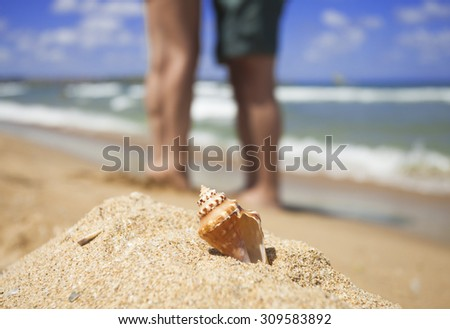 Legs of loving couple hug one another on the sea sand beach against big seashell - stock photo