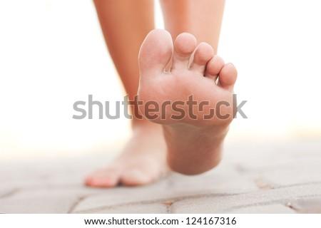 Legs walking - stock photo