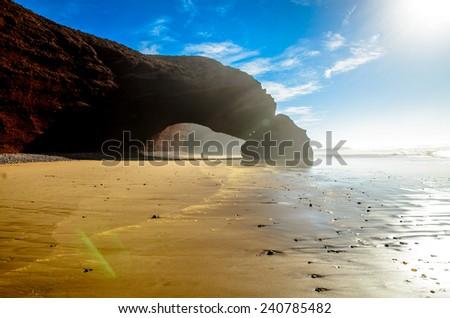 Legzira beach. Arcs - stock photo