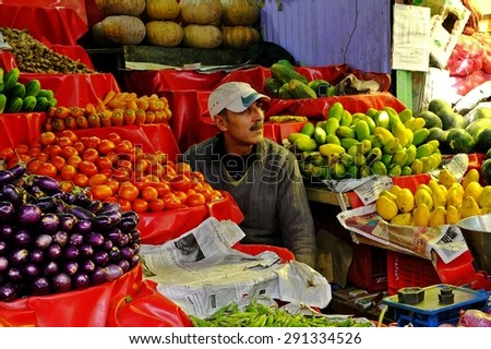 LEH, INDIA - March 23, 2012 : Fruit merchant on local market, Leh, India.