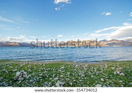 LEH LADAKH ,INDIA - AUGUST 9, 2015 : Pangong Lake (Pangong Tso) ,Ladakh ,Jammu and Kashmir, India.