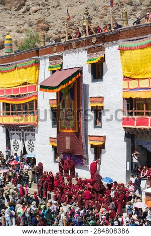 Leh Ladakh,India - July 7,2014 : Many people go to Hemis Festival 2014 in Hemis Monastery.