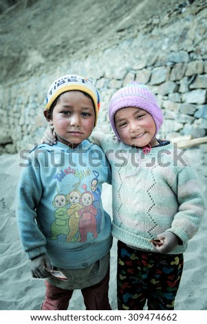 LEH,LADAKH, INDIA - MAY 15:Young unidentified Tibetan boy, poses for a photo on May 15, 2015 in Leh Ladakh, Northern India. There are many Tibetan refugees living in Ladakh.