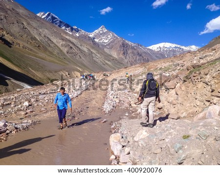 LEH-MANALI HIGHWAY, HIMACHAL PRADESH, INDIA - JULY 5, 2014 : Traffic obstruction at Leh-Manali Highway due to flood on July 5, 2014 in Manali.