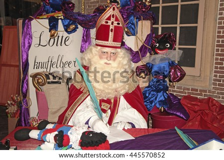 Leiden, The Netherlands - November 2011: Sinterklaas, a dutch character who celebrates his birthday in the Netherlands on the fifth of december - stock photo