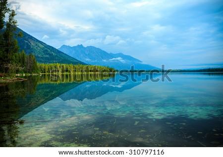 Leigh Lake Landscape near Jackson, Wyoming, USA - stock photo