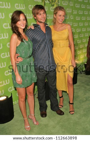 Leighton Meester with Chace Crawford and Blake Lively at the CW Summer 2007 TCA Press Tour. Pacific Design Center, Los Angeles, CA. 07-20-07