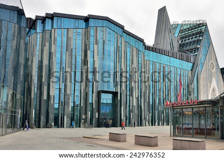 LEIPZIG, GERMANY-DECEMBER 21, 2014: Entry to modern building of University of Leipzig. The university was founded in 1409 - stock photo