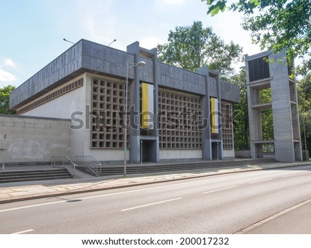 LEIPZIG, GERMANY - JUNE 12, 2014: The Propsteikirche St Trinitas meaning Church of St Trinity designed in 1968 by the school of architecture of the GDR is a masterpiece of modern architecture