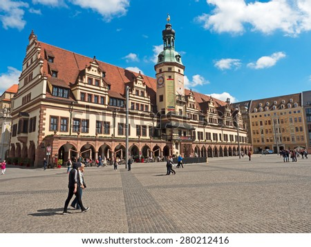 Leipzig, Germany - May 14, 2015: Old Town Hall in Leipzig with marketplace - stock photo