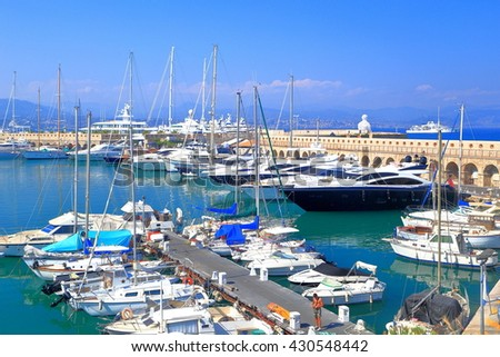 Leisure boats and yachts inside the harbor of Antibes, French Riviera, France - stock photo