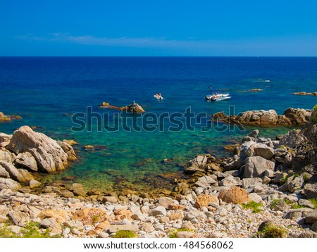 Leisure boats in the coast of the Mediterranean, Costa Brava