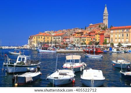 Leisure boats in the harbor of Venetian town of Rovinj, Croatia - stock photo