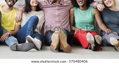 Leisure Teamwork Happiness Hipster Ethnicity Concept - stock photo