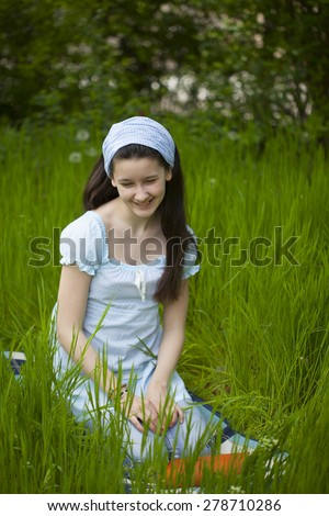 leisure time in the garden for beauty teenager girl - stock photo