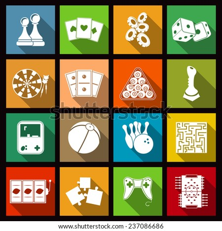 Leisure video sport and gambling casino games icons set flat isolated  illustration - stock photo