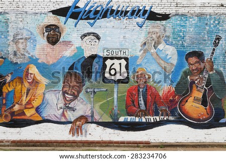 LELAND, MISSISSIPPI, May 8, 2015 : Painted wall in honor of old Mississippi Bluesmen. Leland, in the heart of blues country, has produced a number of national and regionally famous blues musicians