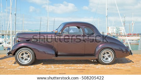 LELYSTAD, THE NETHERLANDS - JUNE 19, 2016: 1937 Buick 10y Coupe on display during the annual National Oldtimer day. Non-ticketed public event held in the streets of the city