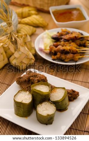 lemak lemang ,malay food during festival of hari raya - stock photo