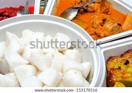 Lemang rendang and ketupat for Hari Raya - stock photo