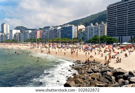 Leme and Copacabana beach in Rio de Janeiro - stock photo