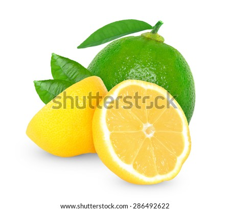 lemon and lime isolated on a white background