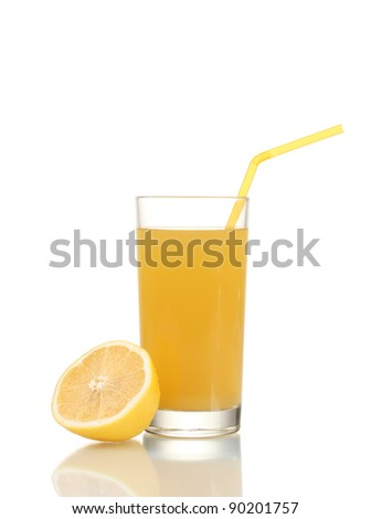 Lemon and orange juice isolated on white